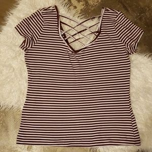 Tops - Maroon and white strappy top Large